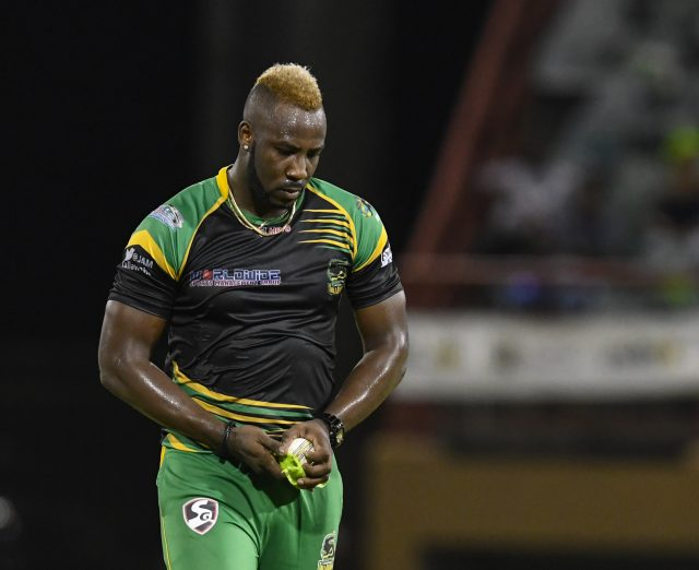 Andre Russell was stretchered off the field